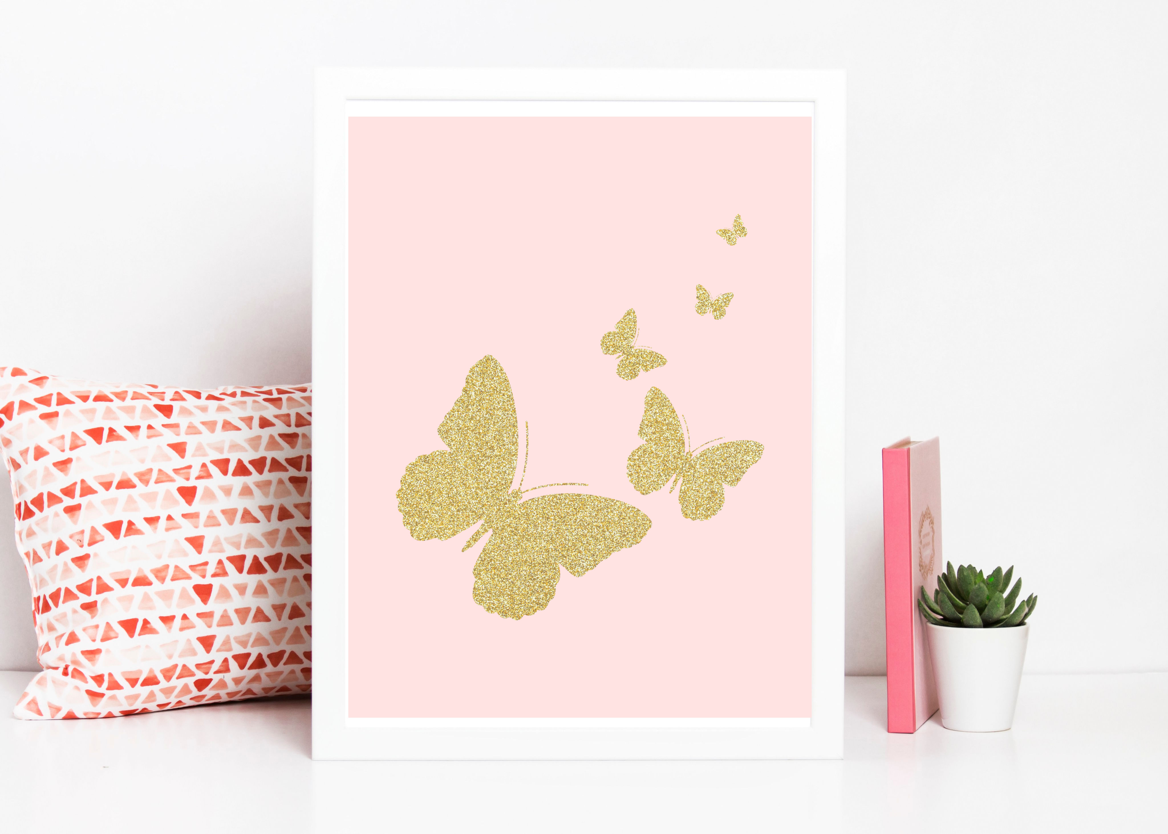 Free printable pink gold butterfly wall art the clever side